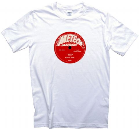 Meteor Records Blues Label T shirt 12 Sizes. Elmore James 45RPM High Quality Tee